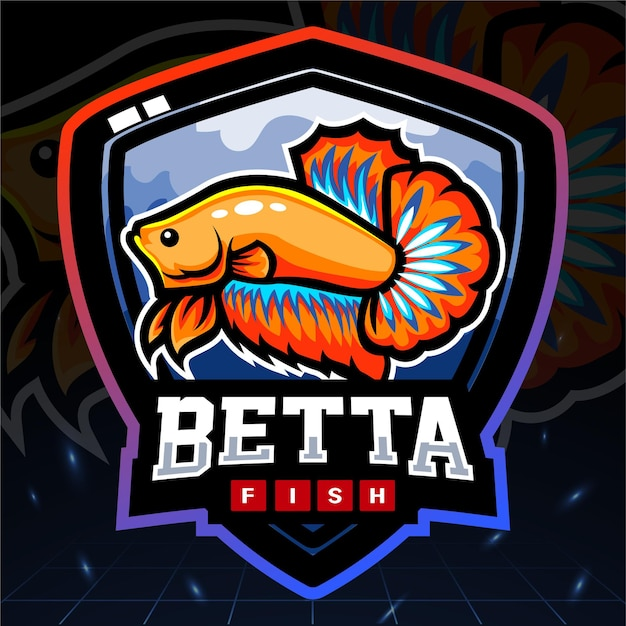 Betta fish esport logo ontwerp