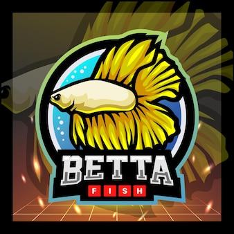 Betta vis mascotte esport logo ontwerp