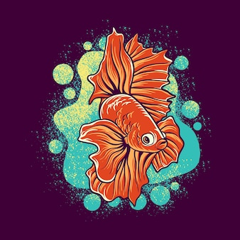 Betta vis mascotte logo afbeelding