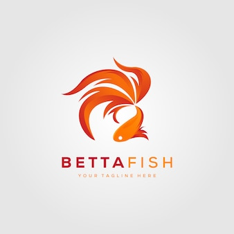 Betta-vissen steken het moderne ontwerp van de embleemillustratie in brand