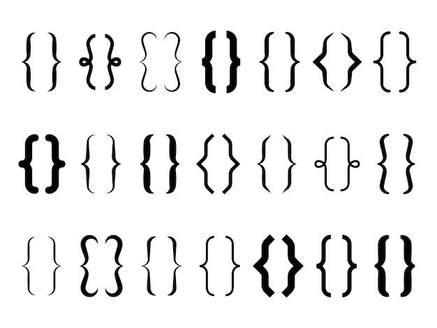 Beugels. vintage accolade typografie symbolen, kalligrafische vormen van haakjes, lijn tekstframes. type elementen
