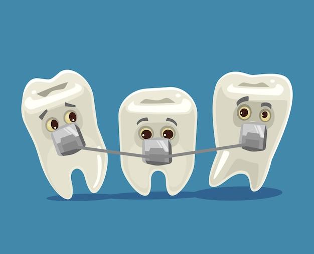 Beugelsystemen grappige tandenkarakters