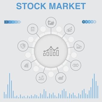 Beurs infographic met pictogrammen. bevat pictogrammen als makelaar, financiën, grafiek, marktaandeel