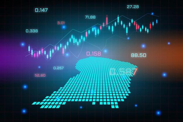 Beursachtergrond of forex trading zakelijke grafiekgrafiek voor financieel investeringsconcept frans-guyana-kaart.
