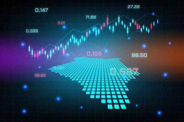 Beursachtergrond of forex trading zakelijke grafiekgrafiek voor financieel investeringsconcept van de kaart van kenia. bedrijfsidee en technologie-innovatieontwerp.