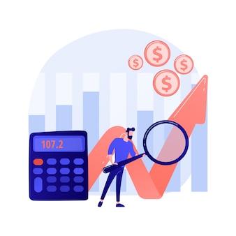 Beursanalyses. economisch onderzoek, onderzoek naar zakelijke trends, kostenbeoordeling van bedrijven en bedrijven. effectenmakelaar die marktstatistieken bestudeert.