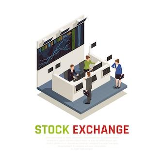 Beursbalie receptie balie service voor beleggingsfondsen managers en individuele beleggers isometrische samenstelling