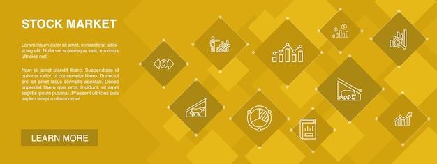 Beursbanner 10 pictogrammenconcept. makelaar, financiën, grafiek, marktaandeel eenvoudige pictogrammen