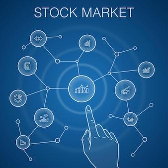 Beursconcept, blauwe achtergrond. makelaar, financiën, grafiek, marktaandeelpictogrammen