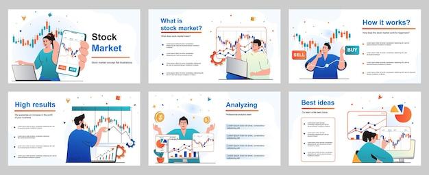 Beursconcept voor presentatiedia-sjabloon mensen houden zich bezig met handelen