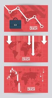 Beurscrash met portefeuille en infographic
