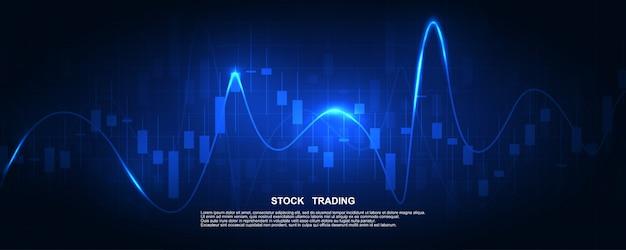 Beursgrafiek of forex-handelsgrafiek voor zakelijke en financiële concepten, rapporten en investeringen in het donker.