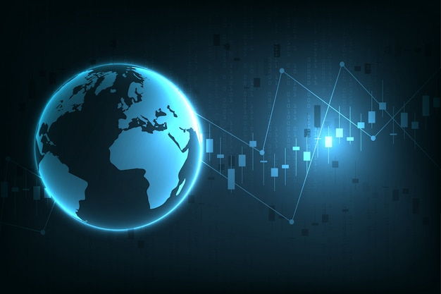 Beursgrafiek of forex handelsgrafiek voor zakelijke en financiële concepten, rapporten en investeringen op donkere achtergrond.