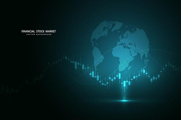 Beursgrafiek of forex trading grafiek voor zakelijke en financiële concepten, rapporten en investeringen op donkere achtergrond. vector illustratie