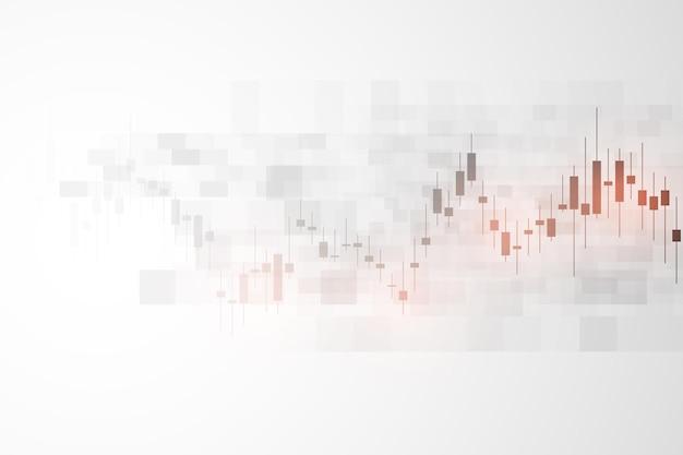 Beursgrafiek of forex trading grafiek voor zakelijke en financiële concepten, rapporten en investeringen op grijze achtergrond. japanse kaarsen. vector illustratie