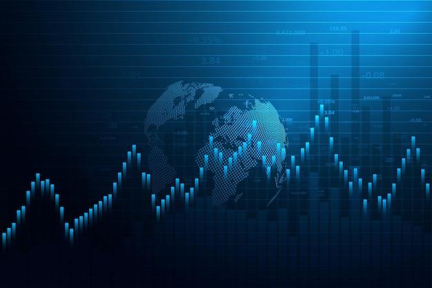 Beursgrafiek of forex trading-grafiek voor zakelijke en financiële conceptenrapporten en investeringen japanse kaarsen candle