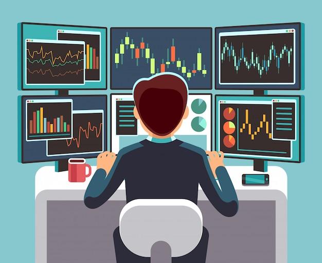 Beurshandelaar die meerdere computerschermen bekijkt met financiële en marktgrafieken.