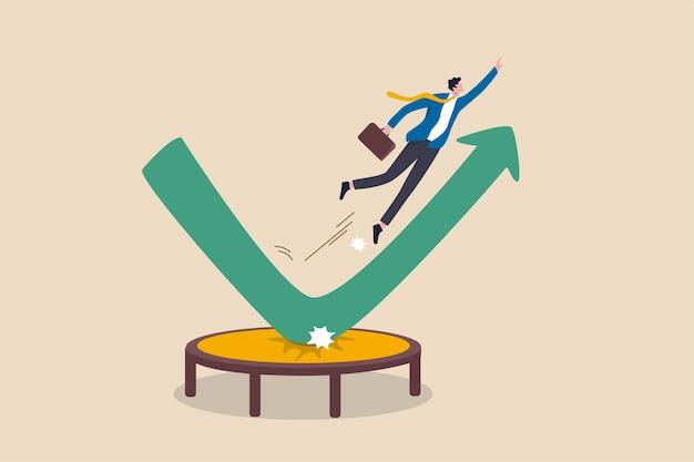 Beursherstel, zaken naar beneden vallen en opgroeien winst of leiderschap en prestatie concept, zakenman springen stuiteren hoog op trampoline met groene stijgende prestatie pijl grafiek.