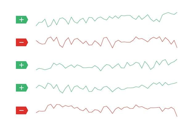 Beursinvesteringen handel technische analyse trends van dalende en stijgende verkoop grafieken op witte achtergrond. handelaar financiële investeringsindex concept. zakelijke grafiek uitwisseling trend vector eps