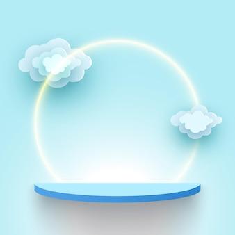 Beursstand met wolken blauwe producten display platform leeg voetstuk plank