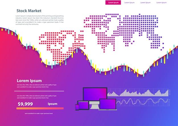 Beurzen voor aandelenbeurzen en uitwisselingswebpagina's