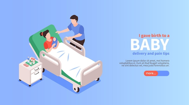 Bevallingswebbanner met jonge vader bij zijn vrouw die van hun baby is bevallen