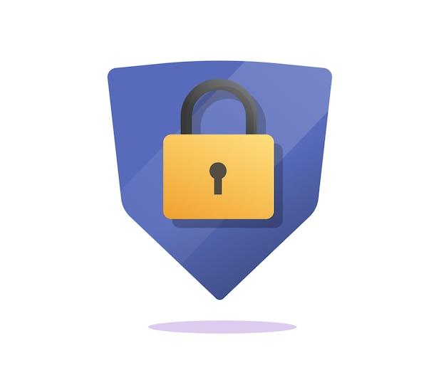 Beveilig schild met slot als pictogram voor gegevensbescherming
