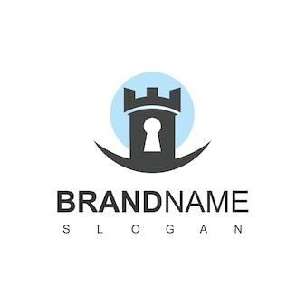 Beveiligd logo-kasteel met sleutelgatsymbool
