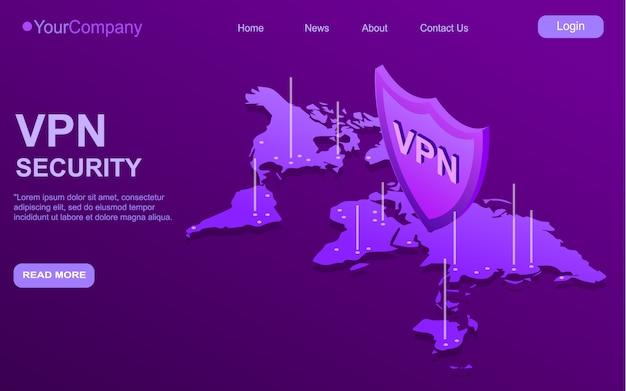 Beveiligd vpn-verbindingsconcept. isometrische vectorillustratie in ultraviolette kleuren. overzicht van connectiviteit van virtuele particuliere netwerken.