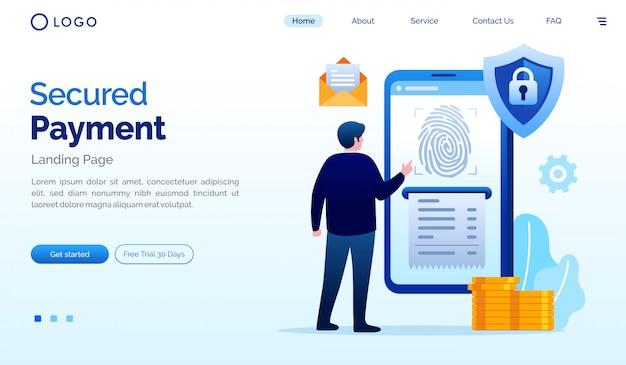 Beveiligde betaling bestemmingspagina website illustratie vector sjabloon