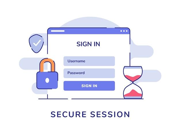 Beveiligde sessie concept inloggen gebruikersnaam wachtwoord computer hangslot schild witte geïsoleerde achtergrond