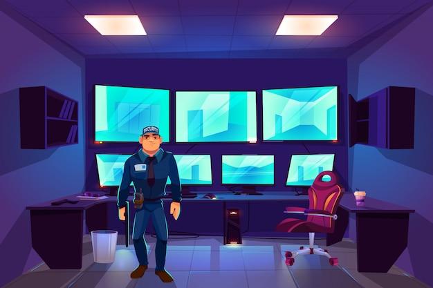 Beveiliger in cctv-controlekamer met meerdere monitoren die video van bewakingscamera's weergeven