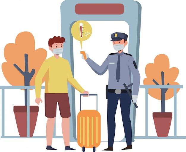 Beveiliging bewaakt de lichaamstemperatuur van de passagier voor een pandemische veiligheid