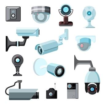 Beveiliging camera cctv controle veiligheid video bescherming technologie systeem illustratie set van privacy veilige bewaker apparatuur webcam apparaat geïsoleerd op een witte achtergrond