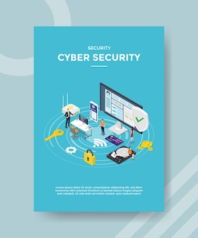 Beveiliging cyber security flyer-sjabloon