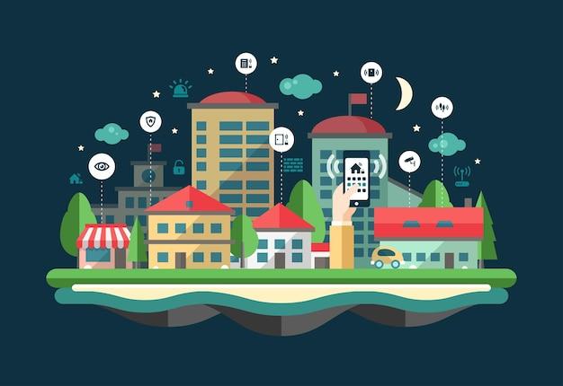 Beveiliging en alarmsysteem services website platte ontwerp koptekst, banner met een stadsgezicht