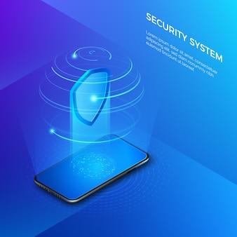 Beveiliging en bescherming van privégegevens. mobiele telefoon met schild hologram beveiligingssysteem concept. isometrische illustratie