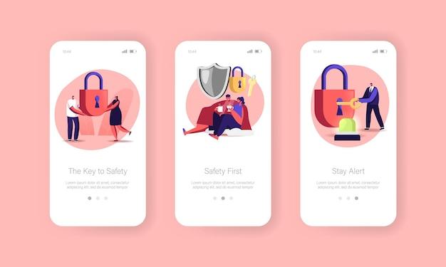 Beveiliging en veiligheid mobiele app-pagina onboard-schermsjabloon. tekens die onder plaid zitten, man sluitslot met sleutel, signalering. huis en leven bescherming concept. cartoon mensen vectorillustratie