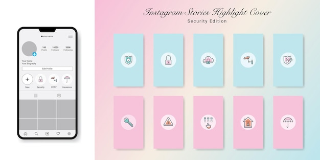Beveiliging instagramverhalen markeer covers design
