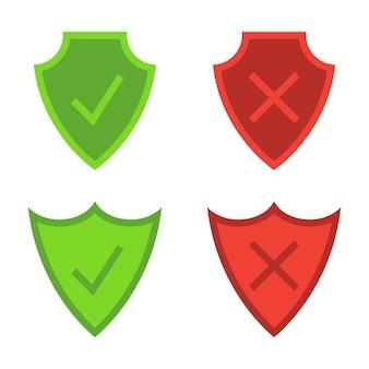 Beveiliging schilden. pantserplaat. beveiligings- en beschermingspictogrammen. vinkje pictogrammen. symbolen van groen vinkje en rood weigeren bevinden zich op de schilden. symbolen van goedkeuren en afwijzen. vector illustratie
