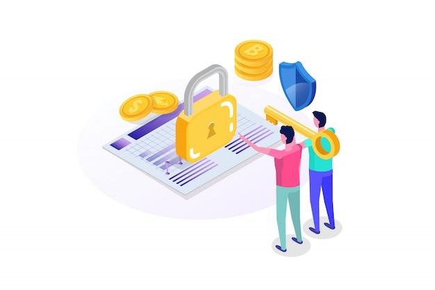 Beveiliging, veiligheid en vertrouwelijke persoonlijke gegevensbescherming isometrisch concept.