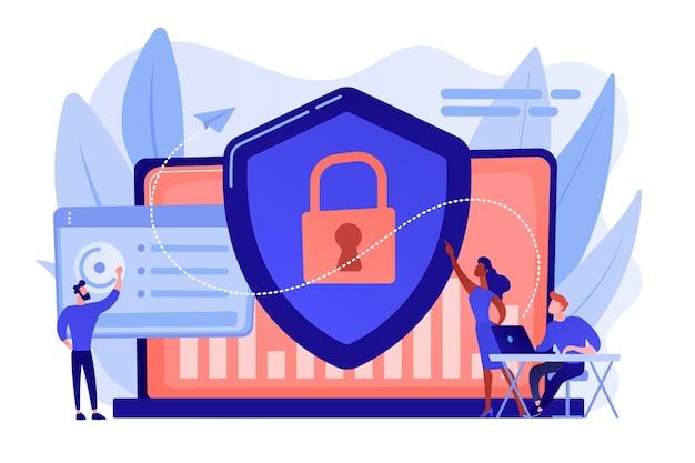 Beveiligingsanalisten beschermen met internet verbonden systemen met schild. cyberbeveiliging, gegevensbescherming, cyberaanvallen concept