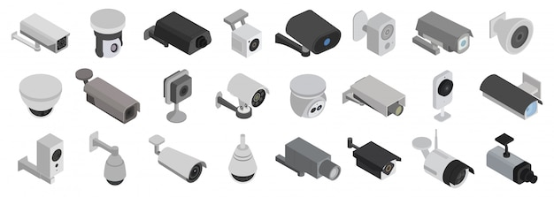 Beveiligingscamera's isometrisch ingesteld pictogram. illustratie cctv op witte achtergrond. isometrische set pictogram beveiligingscamera's.
