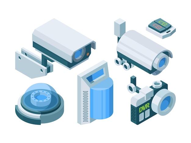 Beveiligingscamera slimme isometrische set. elektronische moderne beveiliging thuiskantoor schakelaar slot straat dome camera's ptz, geautomatiseerde bewaking slimme beschermingstechnologie.