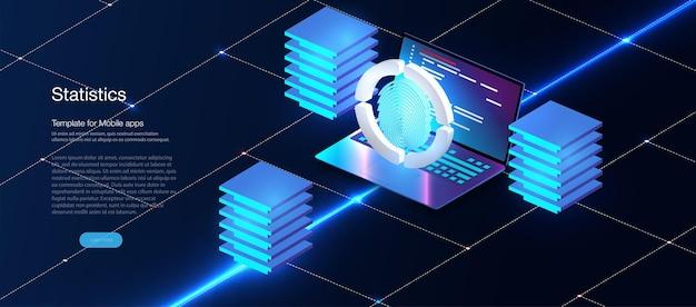 Beveiligingsconcept voor gegevensbescherming op blauwe laptop. isometrisch digitaal beschermingsmechanisme, informatietechnologie. digitaal slot. gegevensbeheer. cyberbeveiliging en informatie of netwerkbescherming.