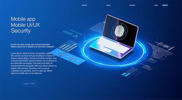 Beveiligingsconcept voor gegevensbescherming op blauwe laptop. isometrisch digitaal beschermingsmechanisme, systeemprivacy. toepassing van pc en smartphone met zakelijke grafiek- en analysegegevens.