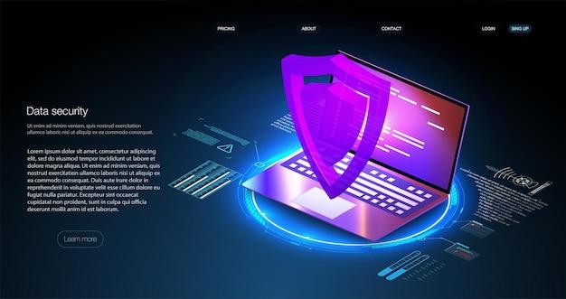 Beveiligingsconcept voor gegevensbescherming op blauwe laptop. isometrisch digitaal beveiligingsmechanisme, systeemprivacy. digitaal slot. gegevensbeheer. cyberbeveiliging en informatie- of netwerkbeveiliging.