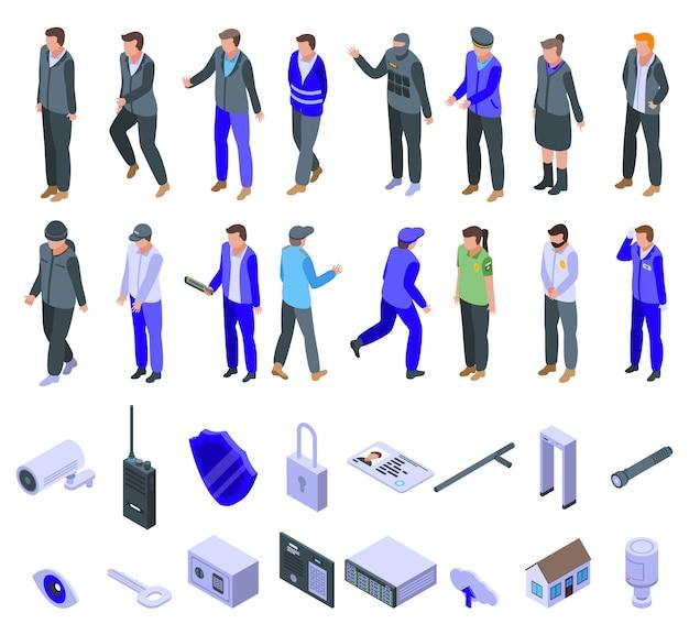 Beveiligingsdienst iconen set, isometrische stijl