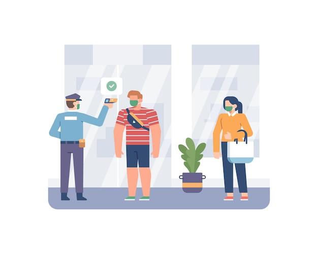 Beveiligingsmedewerker de lichaamstemperatuur van de klant met behulp van een thermometerpistool voordat hij naar de winkelillustratie gaat en winkelt