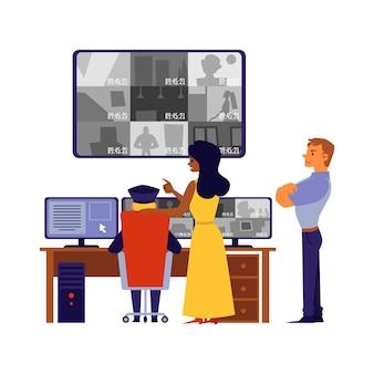 Beveiligingspersoneel helpt bij het oplossen van misdrijven of het onderzoeken van camerarecords op grote schermen en monitoren, cartoonillustratie op witte achtergrond.